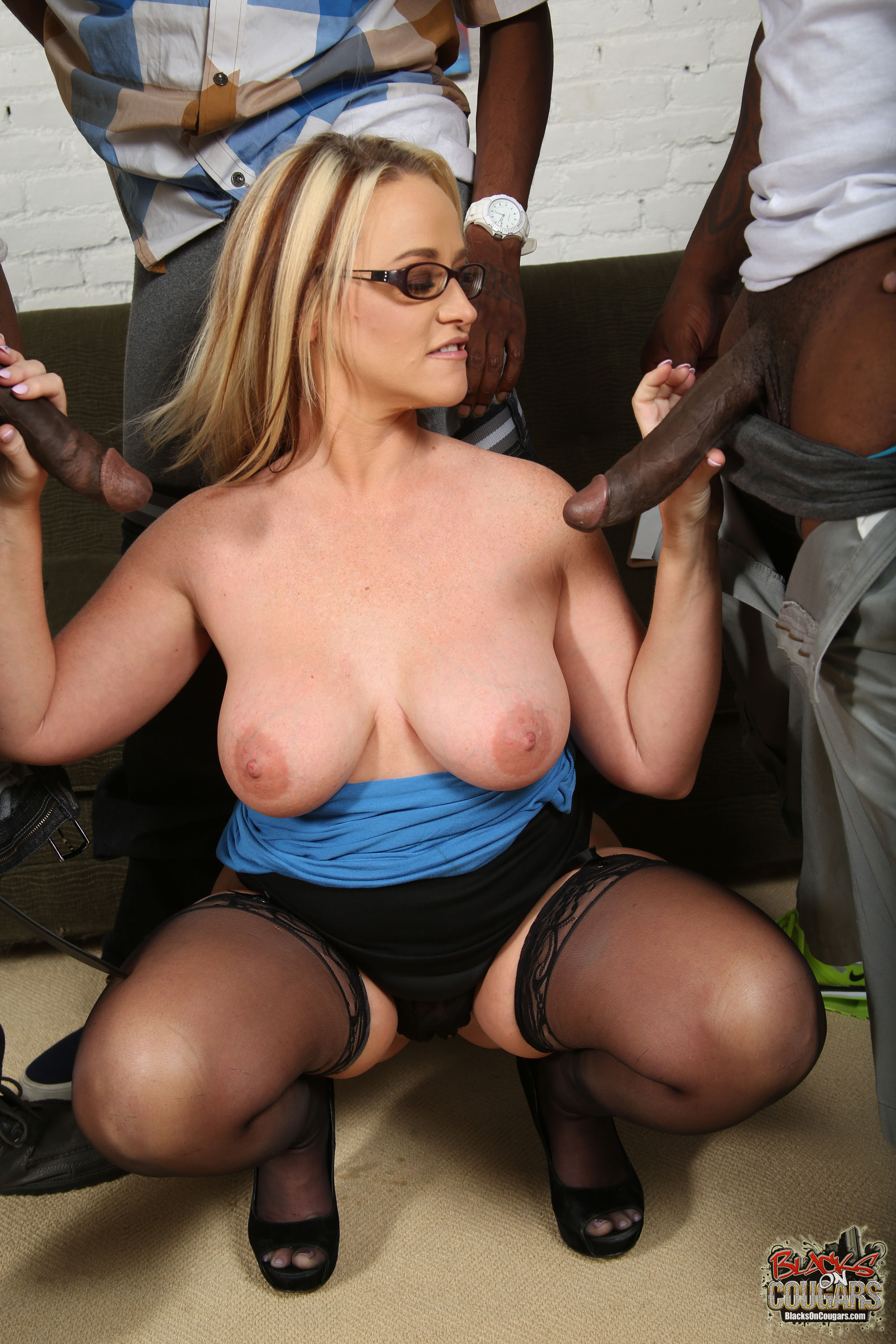 Busty blonde milf gangbanged by bunch of horny studs 2