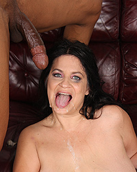 Slut Deb - Brunette Cougar MILF in interracial threesome